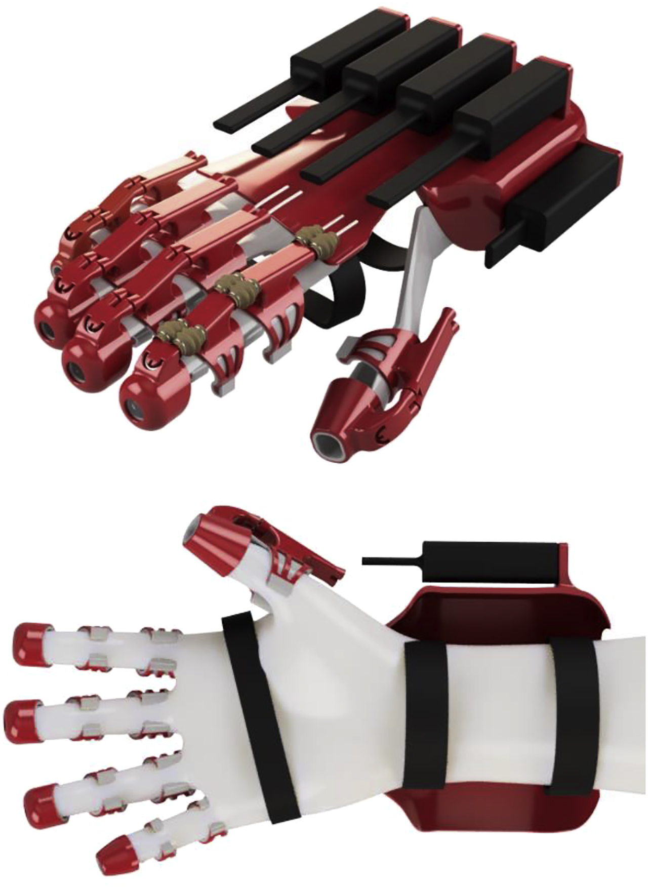 Figure 1: Full overview of the mechanical structure in red with the flexible lining in gray and actuators in black. Top: dorsal view. Bottom: palmar view.