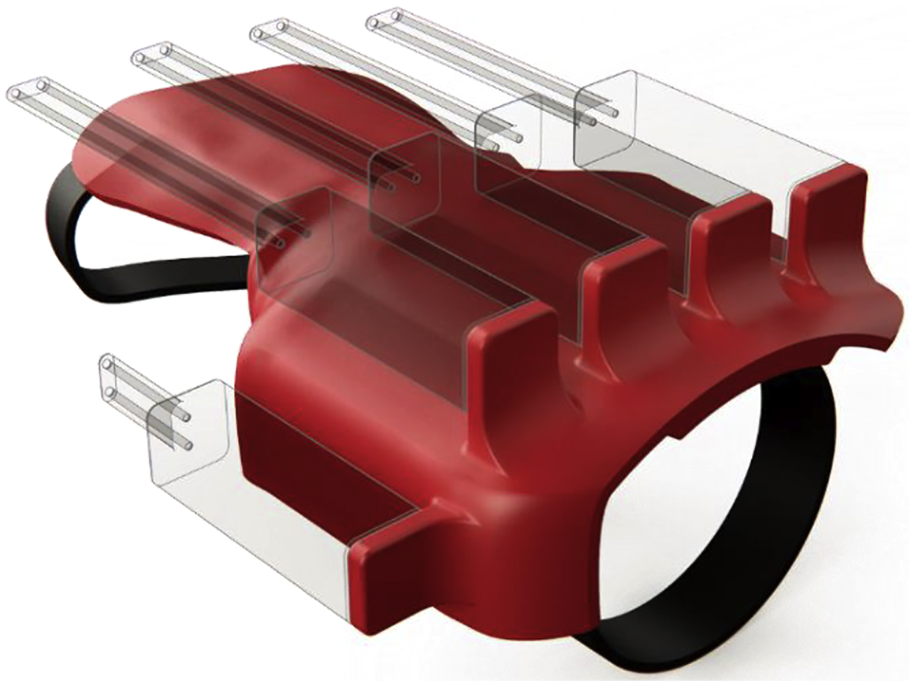 Figure 5: The arm structure that supports the actuators. Motors and cables are represented with transparent bodies.